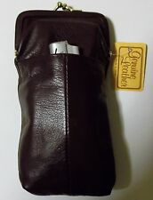 Burgundy Leather Cigarette Case w/Cellphone Pouch-GoldTone Clasp Fits KINGS/100s
