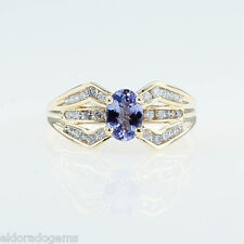 Donna 's 1.50 ct. TANZANITE & DIAMANTE MIX ANELLO 14k oro giallo misura US7