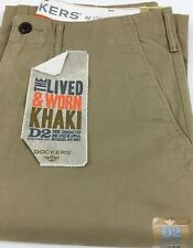 DOCKERS D2 Straight 100 Cotton Trousers Chinos Khaki Flat Front 32 In. 34l