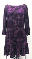 Velvet Damask Print Shift Dress Drop Waist 3/4 Sleeve Purple Vince Camuto Size 8