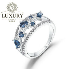 Natural London Blue Topaz Gemstone 0.65Ct Solid 925 Sterling Silver Women Rings