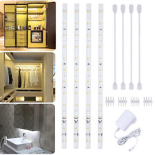 Linkable Set of 4 LED Strip Lights Under Cabinet Kitchen Cupboard Plug in Bar UK