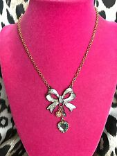 Betsey Johnson Snow Angel Silver Glitter Ribbon Bow Blue Crystal Heart Necklace
