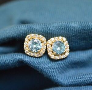 14K YELLOW GOLD FN 925 STERLING SILVER 0.75CT BLUE ROUND EARRINGS CHRISTMAS GIFT
