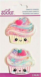 CUPCAKE CONFETTI Sticko 3-D Epoxy Stickers Brightly Coloured Cakes