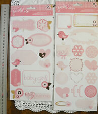 BABY GIRL Sticker Packs x 2 FLAT - Accents & Phrases (31 Stickers Total) L4L