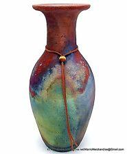 """Raku Studio Art Pottery Bottle Vase Long Neck Copper Turquoise Green 13"""" Signed"""