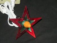 Glo Star Christmas Tree Topper Light Lighted Lucite Vintage Green Red On-A-Lite