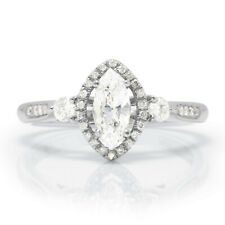 Marquise Diamond Halo Engagement Ring with Accents 18K .73ctw