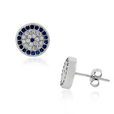 925 Sterling Silver Evil Eye Protection Clear Blue CZ Stud Earrings