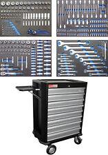 Servante d'atelier 8 tiroirs complète avec 296 outils chariot modules mousse