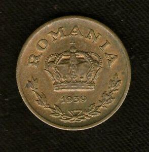 ROMANIA COIN 1 LEV 1939 NICKEL-BRASS UNC