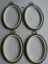 Wood effect Flexi Hoop Oval 9 x 13cm cross stitch/sewing/display frame pack of 4