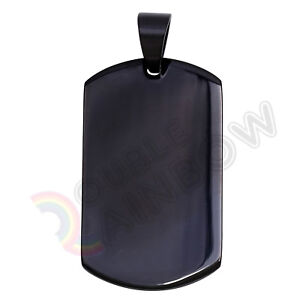 Men's Stainless Steel Blank Dog Tag Gold Silver Black Pendant P48