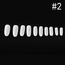 500Pcs Salon White/Clear/Natural Oval Head Round Full Cover Fake Nail Art Tips s