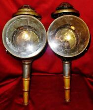 Antique Pair of Buggy Carriage Whale Oil Lanterns Lamps Beveled Glass