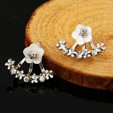 Frauen elegante Ohrringe Kristall Strass Ohren Daisy Blume Schmuck Silber BW