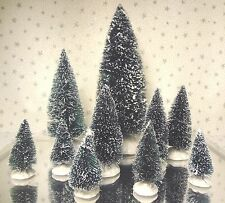 Lemax Sisal Bottle Brush Trees Snow Covered Christmas Village Accessory Lot 10