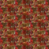 Wild Wings Amongst the Shadows Deer Scenic 100% cotton fabric by the yard