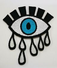 Blue eyeball tattoo wicca occult goth punk retro applique iron on patch B20