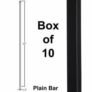 Plain Bar Stair Iron Balusters (10-Pack) Hollow Metal Spindles (Satin Black)