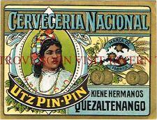 Guatemala Beer Label Utz Pin-Pin Kiene Hermanos Quezaltenango Tavern Trove