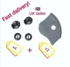 ×4 Breathing Air Valve & ×2 Carbon Anti Dust/Pollution Street Face Filter. UK