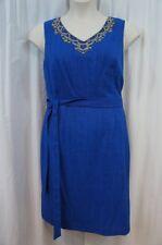 Ellen Tracy Dress Sz 14 Cobalt Blue Belted Beaded Neckline Evening Dinner Dress