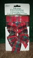 Berwick Home Decorating 3 Wired Edge Plaid Bows and Ribbon