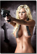 """Sexy Hot Blonde Girls With Guns Fridge Magnet Collectible Size 2.5"""" x 3.5"""""""