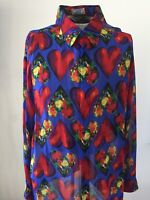 Gianni Versace Mens Shirt Blue Red and Multi Color. Size L-Xl