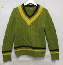 S3241 Pendleton 1960's Deep V Pullover Large Green/Yellow Sweater Virgin Wool