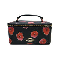 NWT COACH Vanity Case Poppy Floral Flower Bag Pouch Black Gold F38705 IMA47