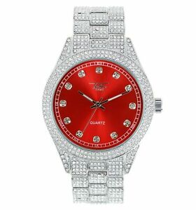 Iced Bling Rapper Lab Diamond Metal White Gold PT Hip Hop Luxury Colorful Watch