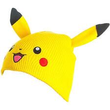 NEW! Pokemon Unisex Pikachu Face & Ears Cuffless Beanie One Size Yellow