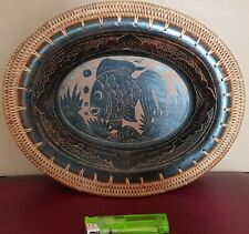 Hand Carved Wooden Bowl with fish