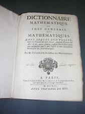 Mathématique 17° siècle M. Ozanam Dictionnaire mathématique 1691 gravures plches