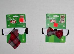 Plaid necktie for cat or dog red gray collar Holiday Christmas Easter Tie