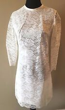 Vintage 1960s White Satin and Lace Mod Mini Shift Dress size XS Long Sleeve DS6