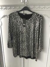 Nicole Size L Silver Leopard Print Dip Hem Top Bnwt