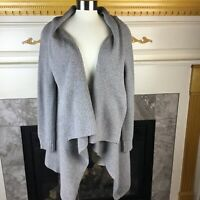 VINYARD VINES Womens M Gray Long Sleeve Ribbed Open Wrap Cardigan Sweater