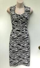 BASQUE Black & White Geometric Print Panel & Tuck Dress sz 10 NWT Rrp $149.00
