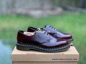 NIB Dr. Martens Vegan 1461 Unisex 3 Eye Shoes CHERRY RED OXFORD RUB OFF 14046601