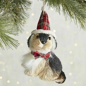 Pier 1 Dog Christmas Ornament Park Avenue Sisal Plaid Bow Tie Brown & White