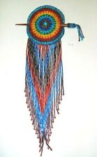 """Hand Beaded 3 Circle Barrette 3.25/"""" L x 1.5/"""" W Leather Backed French Clip 3C06"""