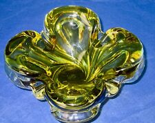 CHALET Olive Green Art Glass Centerpiece Bowl/Vase Hand Blown