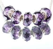 5pcs silver spacer beads fit Charm dark blue crystal European Bracelet DIY C#351