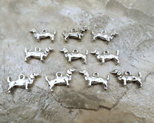 10 Pewter DACHSHUND Charms  - 5498