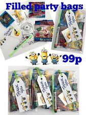 Minions party bags, pre filled sweets toys,tattoo, colouring,boys girls