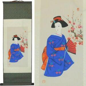 Japanese Geshia Girl Painting in Kimono Wall Hanging Silk Scroll Print New
